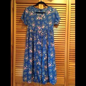 Blue floral, empire waist, dress - Erika & Co.